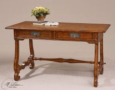 """Okalani, Writing Desk by Uttermost by Uttermost. $613.80. Material: MDF,POPLAR,OAK VENEER,RESIN,METAL. Carved legs, tenoned drawers, and reproduction details in a rich, old oak finish with verdigris acanthus leaf drawer hardware. Dimensions: 26""""D x 54""""W x 30""""H"""