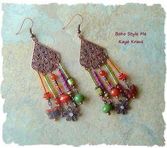 Bohemian Jewelry, Boho Gypsy Assemblage Earrings, Colorful Seventies Style Chandelier Earrings, BohoStyleMe, Kaye Kraus