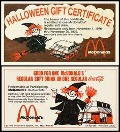 McDonalds - Halloween Gift Certificate - 1976