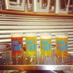 Left to right: Wheat Wine, Cream Ale, Wet Hop, Apricot IPA for tomorrow's Rare Beer Night. @bountyfood will be onsite as well! Tix still available at halffullbrewery.com #stamford #halffullbrewery