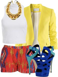 Yellow Blazer, White Tee, Red (Yellow and Blue) Patterned Bottoms, Blue Heels. & Gold Chain Link Necklace.
