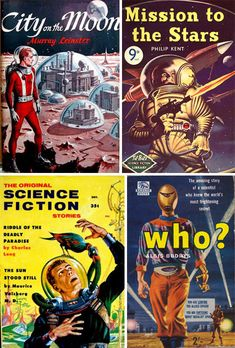 Science fiction book covers are the most wildly decorated on the shelf. Here's a look at retro and pulp science fiction book covers that exemplify sci fi. Science Fiction Books, Pulp Fiction, Adventure Magazine, Retro Robot, Sci Fi Comics, Sci Fi Books, Pulp Art, Retro Futurism, Sci Fi Fantasy