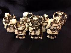 Antique Meiji period Japanese Netsuke Ojime carved wooden Seven Lucky Gods ×7