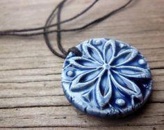 Monogram Essential Oil Diffuser Necklace Off White or Blue