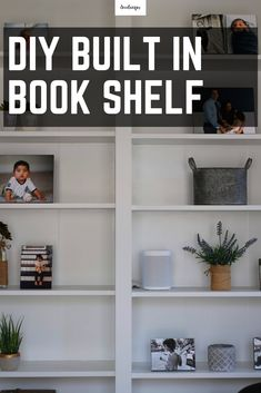 This built in book shelf is a great DIY and easy to do with the help of IKEA Billy book shelves. This book shelf will look great in a home office or library, or even a beautiful family room where you want to show case your home decor. Diy Built In Shelves, Home Decor Shelves, Book Shelves, Shelf, Library Shelves, Rustic Room, Rustic Farmhouse Decor, Farmhouse Office, Ikea Furniture