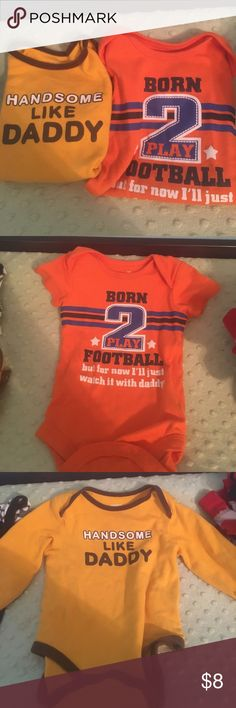 "Daddy themed onesies Long sleeve ""handsome like daddy"" onesie & short sleeve ""born to play football but for now I'll just watch it with daddy!"" Onesie.. NO STAINS One Pieces Bodysuits"