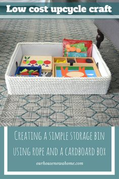 Don't throw away that cardboard box! This is the toy storage you have been wanting & needing! With just a few steps to pretty this up, the cardboard box becomes a cute bin. Perfect to hide those toys in the living room, or help keep things organized!