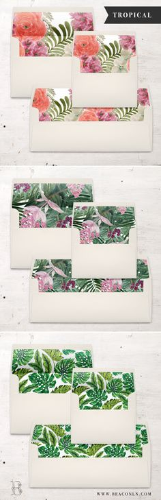 Get ready for some tropical envelope liner pretty! Each A7, A2 or #10 envelope liner is digitally printed on the paper of your choice and then hand cut and assembled inside each envelope. No messy glue strips or at home assembly needed – all the work will be done for you!