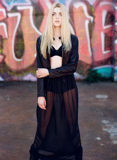 Long sheer black maxi skirt  high waisted chiffon by murmuration, $120.00