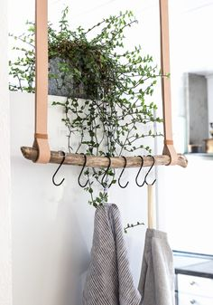 Tea towel holder made of leather and driftwood {DIY} HOME TREE # hallway . - Geschirrtuchhalter aus Leder und Treibholz { DIY } HEIMATBAUM Tea towel holder made of leather and driftwood {DIY} HOME TREE # hallway # entrance area Diy Hat Rack, Hanger Rack, Coat Hanger, Rama Seca, Boho Deco, Diy Casa, Ideias Diy, Hanging Racks, Diy Hanging