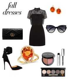 """""""Fall Dress Look"""" by reagodo ❤ liked on Polyvore featuring Sandro, Christian Louboutin, Gucci, Bobbi Brown Cosmetics, La Perla and Annello"""