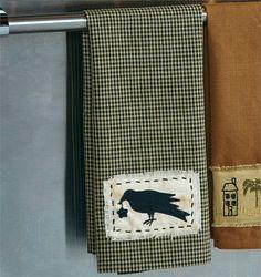 Country primitive crow appliqued towel from CountryPorchHomeDecor.com