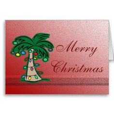 3e23a9a7197 Merrry Christmas Tropical Palm Tree Greeting Card Palm Trees