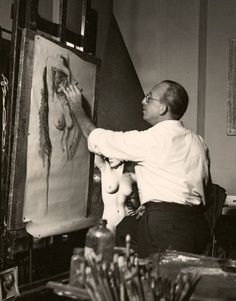 Dean Cornwell at work sketching a nude. Photo: Peter Basch. From Honey-Rider