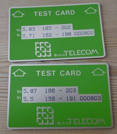 British Telecom (BT) Optical Cardphone Test Cards and Gyr, Test Card, British, Learning, Cards, Teaching, Maps, Education, Playing Cards