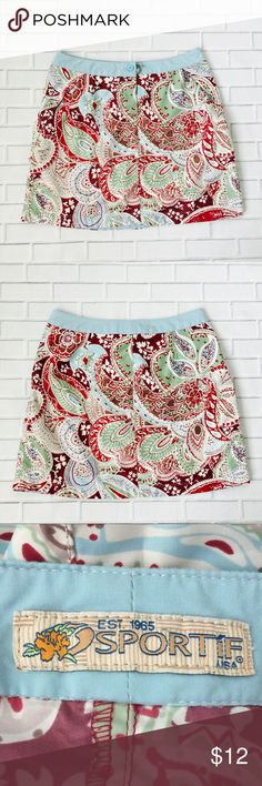 """Bundle 6 for $25 • Sportif Sporty Paisley Skirt 🔹BUNDLE any 6 items for $25! 🔹Like 6 items 🔹Add the items to a bundle 🔹Make bundle offer for $25!  ▫️Brand: Sportif ▫️Size: 8 ▫️Material: Polyester  ▫Condition: Preowned ▫️Flaws: None  ▫️Description:  •Button front •Side pockets •Paisley floral pattern  ▫️Measurements Laying Flat: •Waist: 14.5"""" •Length: 17"""" •Shipping Weight: 8oz  ▪️NO Trade/Hold ▪️Next Day Shipping ▪️Smoke Free/Kitty Friendly Home Sportif Skirts"""
