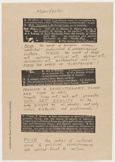 George Maciunas, Fluxus Manifesto, 1963 - Offset. The Museum of Modern Art. The Gilbert and Lila Silverman Fluxus Collection Gift, 2008
