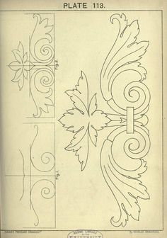 This book is amazing see site for many more - 1895 - Cusack's freehand ornament. A text book with chapters on elements, principles, and methods of freehand drawing, for the general use of teachers and students . by Armstrong, Charles Art Nouveau, Motif Arabesque, Ornament Drawing, Wood Carving Patterns, Acanthus, Design Elements, Embroidery Patterns, Hand Lettering, Coloring Pages