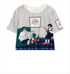c8dd0cdfc066e Harajuku Striped Crop Top T-Shirts - Mermaid Freak
