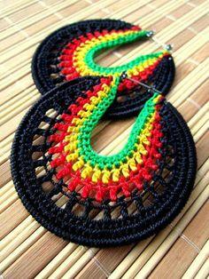 Rasta Crochet Hoops by BohemianHooksJewelry Crochet Earrings Pattern, Crochet Jewelry Patterns, Crochet Bracelet, Crochet Accessories, Crochet Designs, Thread Crochet, Knit Crochet, Textile Jewelry, Crochet Videos