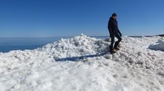Kate Preiner photo of  Julie Henry - Conquering icy snow mounds with mukluks at Park Point! - Park Point in Duluth, MN #mukluk #stegermukluks