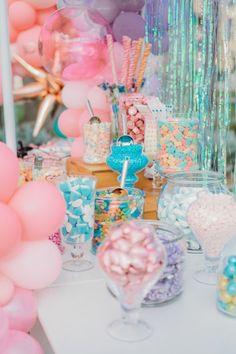 Candy Buffet from a Boho Mermaid Party on Kara's Party Ideas   KarasPartyIdeas.com (18) Mermaid Pinata, Mermaid Cakes, Balloon Arch, Balloons, Balloon Installation, Candy Cart, Party Printables, Boho Decor, Mermaid Party Decorations