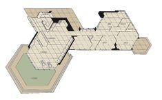As-built plan. Arnold Friedman residence/ Fir Tree House. Pecos, New Mexico. 1948. Frank Lloyd Wright.