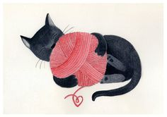 Black cat red yarn cute illustration children decor - The cat print 8 x 11.5  print of an original illustration. $22.00, via Etsy.