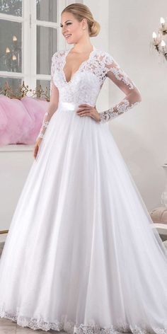 Chic Tulle V-neck Neckline Natural Waistline A-line Wedding Dress With Beaded Lace Appliques #weddingdresses