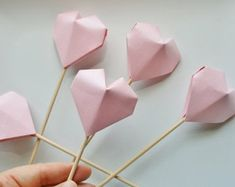 Origami Baby Shower Girl Decor Heart Cake Toppers.Cake picks.Handmade cake toppers.Origami heart.PINK cake toppers.Valentines Day.Set of