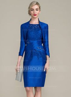 [€ 126.84] Sheath/Column Scoop Neck Knee-Length Taffeta Lace Mother of the Bride Dress With Ruffle Beading Sequins (008102665)