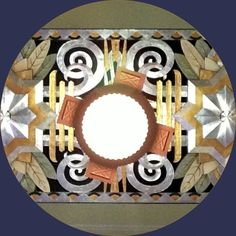 """Late Train,"" ceiling pattern and light fixture in the former train station of Omaha, Neb. (1931-1971), now the Durham Museum. Digital Imagisphere, December 2013. (Rebecca McCormick, photo)"