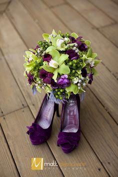 Green, Purple, Plum, Eggplant, Gray, Feather, Cymbidium, Orchid, Ranunculus, Bouquet, Wedding. Flowers by Vale of Enna.