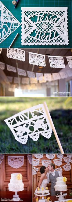 Picado Mexican paper flags for wedding decor from Ay Mujer on Etsy.com via JunebugWeddings.com.