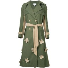 Huishan Zhang floral appliqué trench coat ($2,150) ❤ liked on Polyvore featuring outerwear, coats, green, huishan zhang, floral print trench coat, a line trench coat, green coat and a line coat