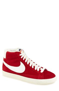 Cool kicks! Love the red Nike 'Blazer Mid Hi' suede sneaker.