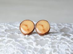 Round wooden earrings natural wood ear studs with by MyPieceOfWood