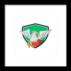 Hippogriff With Talons Shield Cartoon Framed Print By Aloysius Patrimonio