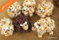 cheerios sheep snacks ADORABLE and creative.not sure if it's totally a dessert but if you cover them in white and dark chocolate. Toddler Meals, Kids Meals, Shortbread, Cute Food, Yummy Food, Preschool Snacks, Biscuits, Cooking With Kids, Easy Cooking