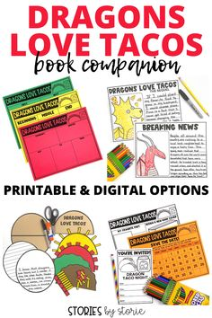 Do your students love to read Dragons Love Tacos? Here are some activities you can pair with the book. You'll find comprehension questions, vocabulary practice, graphic organizers, a taco craft, dragon directed drawing, and more! Work On Writing, Writing Workshop, Writing A Book, Letter Writing, Vocabulary Practice, Vocabulary Cards, Graphing Activities, Writing Activities, Dragons Love Tacos