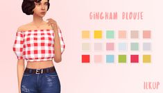 """ilkup: """" Gingham Blouse • standalone recolour • requires laundry day stuff • @twikkii's vacation palette • custom thumbnail download [sfs] [no adfly] """""""