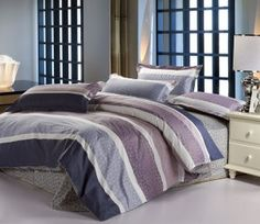 100 cotton purple blue striped pattern printed queen bedding comforter quilt duvet covers sets