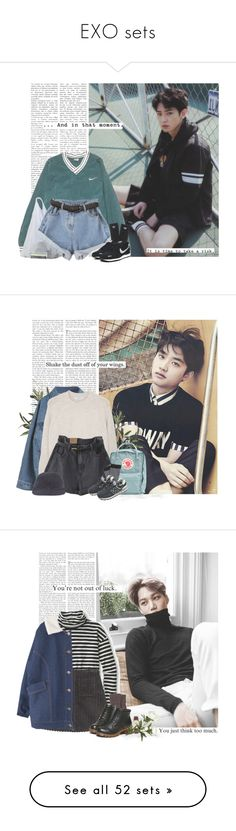 """""""EXO sets"""" by yxing ❤ liked on Polyvore featuring kpop, EXO, NIKE, adidas, Wallflower, Tag, chanyeol, bless, MANGO and Fjällräven"""
