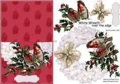 """White wreath over the edge on Craftsuprint designed by Bodil Lundahl - A bright white christmas wreath decorated with two lovely vintage robins on a holly branch. The finished card is a """"No hole over the edge"""" and a true christmas coloured christmas card. - Now available for download!"""