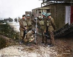 A Mauser T-Gewehr - German anti-tank rifle, being admired by some Canadian soldiers and the crew of a RTC Mk.V tank during the Battle of Amiens. August 1918 (Photo source - Library and Archives Canada Photo, MIKAN No. 3395388) (Colorised by Paul Kerestes from Romania) //www.facebook.com/jecinci/