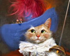 Musketeer - robert papp, pictura, blue, art, animal, mouse, pisica, white, red, fantasy, luminos, hat, painting, cat, musketeer, feather, sword