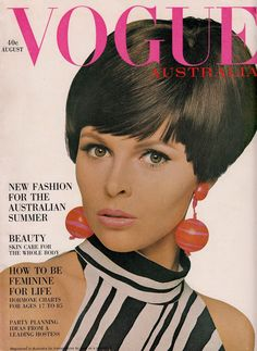 60's VOGUE AUSTRALIA cover. Black & white zebra stripes on cotton crepe by TRENT. Op earrings by Joanna Collard. Rose Royce lipstick. Cover photo by John Waddy. Vogue Australia August 1966 (minkshmink collection)