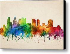 Philadelphia Pennsylvania Skyline 05 Canvas Print / Canvas Art By Aged Pixel