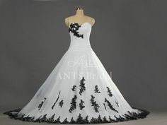 Unique Design White and Black Wedding Dress A line Wedding Dress Lace Appliques Bridal Dress Sweetheart Wedding Gown Chapel Train W205 on Etsy, $199.00