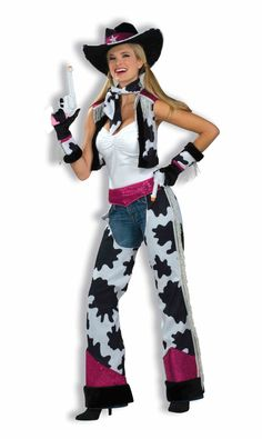 Glamour Cowgirl Cowboy Ladies Costume - This Cowgirl costume would be fun for any occasion, Halloween, a Wild West event or adding a little glamour to your Stampede outfit this year! Yahoo! Get on out there and ride those horses in this glamorous Cowgirl costume.  This Cowgirl comes with several different costume pieces to dress you up! First off is a faux suede cow print vest, lined with black fuzzy trim. #calgary #yyc #costume #oldwest #wildwest #western #cowgirl #chaps #ladies